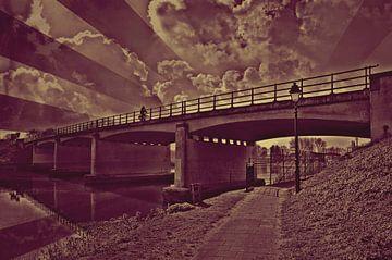 Op de fiets over de brug van Leo Huijzer