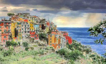 Cinque Terre - Corniglia - Italië - Schilderij