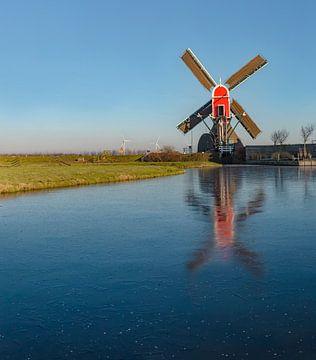 Smockmill namens De Rooie Wip, Hazerswoude, Südholland, Niederlande von