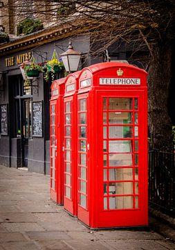 Britse telefooncel in Greenwich, Groot-Brittannië van