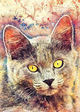 Katze Tier Aquarell Kunst #Katze #Kätzchen von JBJart Justyna Jaszke