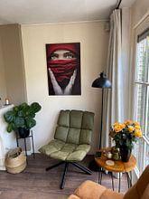 Klantfoto: Arabische roos (Steve Mcurry inspiratie) (gezien bij vtwonen) van Elianne van Turennout, op aluminium