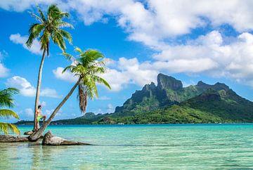 Op een onbewoond eiland op Bora Bora van