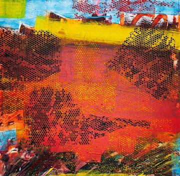 Schwarzes Wabenmuster auf rotem Hintergrund von Klaus Heidecker