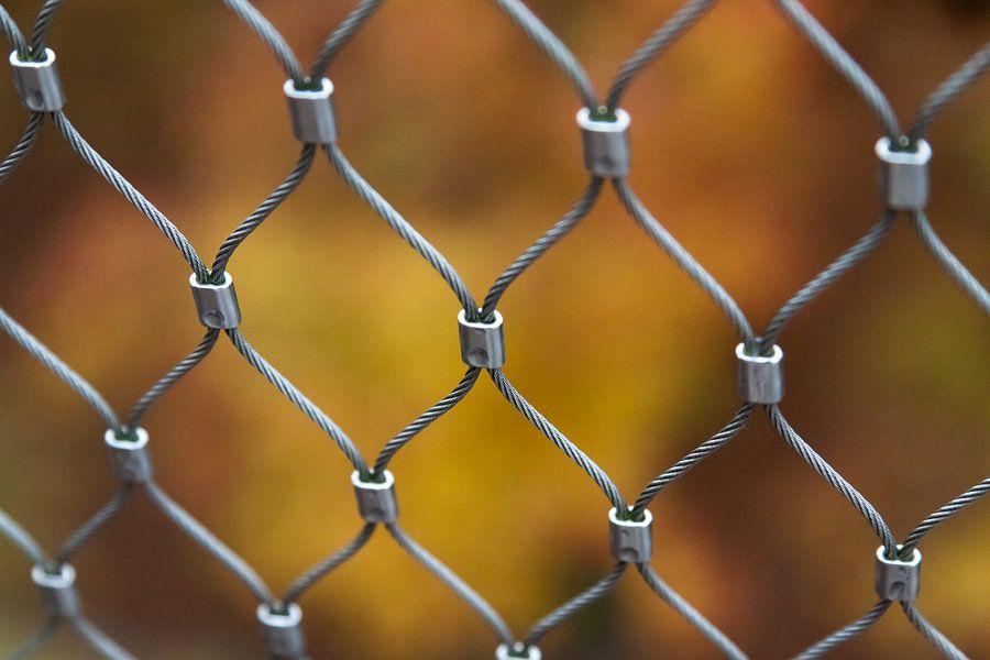 Fence in front of autumn colors van Marco de Groot