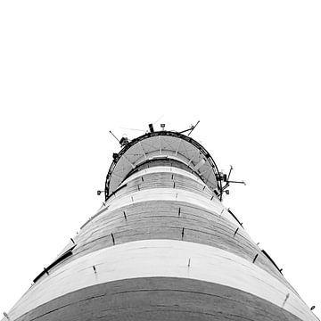 De vuurtoren van Ameland (Bornrif) zwart-wit. van Nicky Kapel