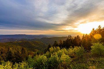 Coucher de soleil à Schliffkopf en Forêt-Noire sur Werner Dieterich