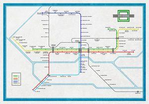 Plan du métro Rotterdam sur Frans Blok