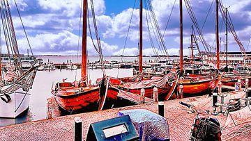 Volendam Fischerboote von Digital Art Nederland