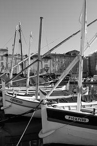 De vissersbootjes in Saint-Tropez van Tom Vandenhende