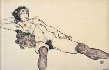 Egon Schiele. Frau mit Beinen verbreitet