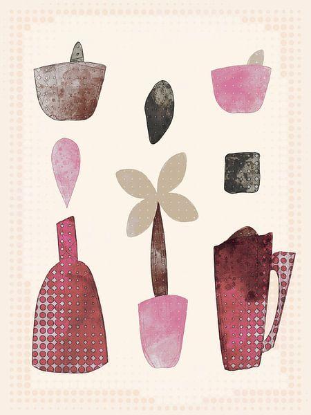 Komposition mit Flasche, Krug und Blume von Joost Hogervorst