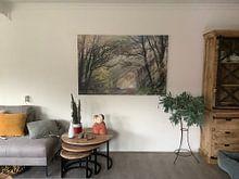 Klantfoto: Zonnestralen, spelend met de bomen van Karla Leeftink, op canvas