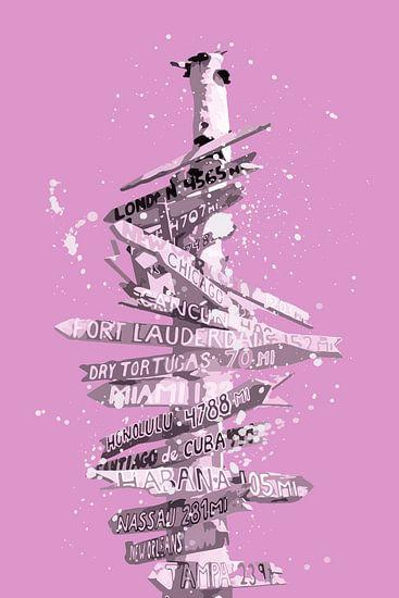 Grafische kunst GIDS roze van Melanie Viola