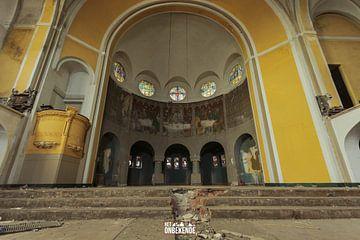 Oude altaar van de kerk. van Het Onbekende