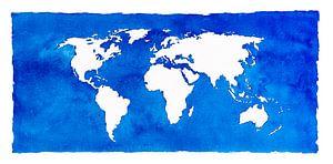 Wereldkaart in blauwe aquarel met een witte kader
