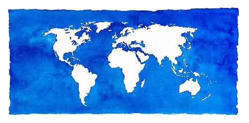 Worldmap in blue watercolor