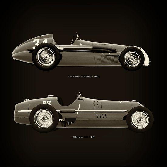 Alfa Romeo 158 Alfetta 1950 en Alfa Romeo 8c 1935