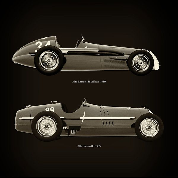 Alfa Romeo 158 Alfetta 1950 en Alfa Romeo 8c 1935 van Jan Keteleer