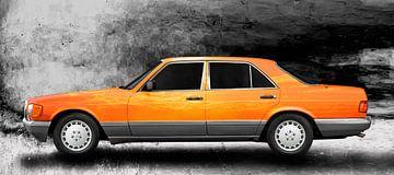 Mercedes-Benz S-Klasse W 126 Art Car in orange von aRi F. Huber
