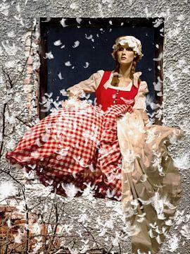 Fensterblick - Frau Holle schüttelt die Betten aus von Christine Nöhmeier