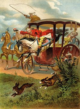 Gottfried Franz, Munchhausen springt door de koets - 1896 van Atelier Liesjes