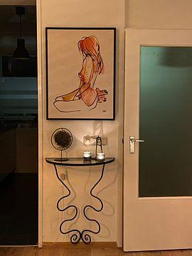 Kundenfoto: Akt, Aquarell Tinte von Pieter Hogenbirk