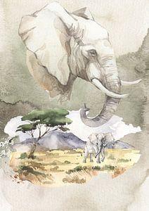 Afrikaanse olifant van Karin Schwarzgruber