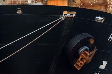 Details van zeeschepen in de haven Amsterdam. van scheepskijkerhavenfotografie