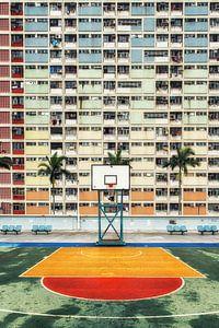 Hong Kong kleurrijke woonwijk met basketbalveld