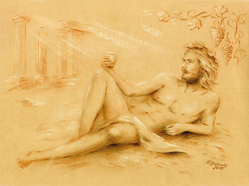 Dionysus god van de wijn - Wijn god Bacchus van Marita Zacharias