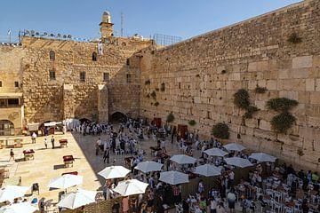 De Klaagmuur of Westelijke Muur, Jeruzalem, Israël, Midden-Oosten van Mieneke Andeweg-van Rijn