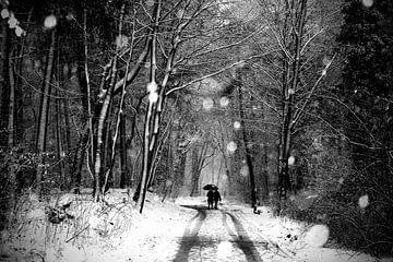 Een wandelend echtpaar door de sneeuw in het bos (zwartwit) van Carlijn van Gerrevink