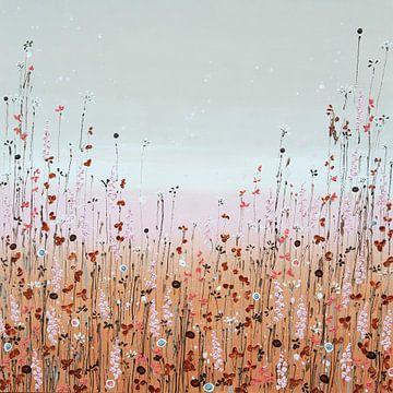 Peinture de champ de fleurs, terreuse et élégante