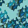 VISSEN grafische print in blauwtinten van Marijke Mulder thumbnail