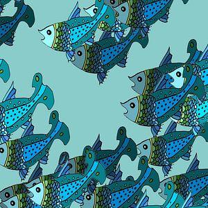 VISSEN grafische print in blauwtinten van Marijke Mulder