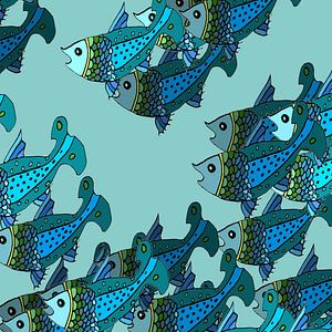 VISSEN grafische print in blauwtinten van