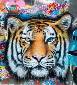 Tiger Street Art van David Potter