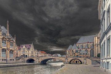 Leere Straßen in Gent (Graslei / Korenlei) von Maarten Visser