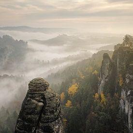 Nebel über dem Elbsandsteingebirge von Rolf Schnepp