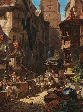 Carl Spitzweg, die Ankunft der Postkutsche - 1859