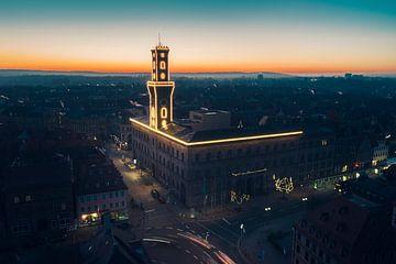 Stadhuis Fürth bij zonsondergang
