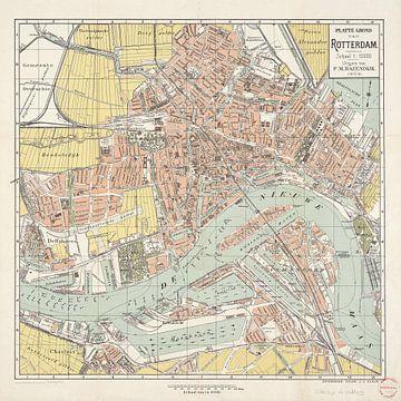 Karte von Rotterdam / signiert von J.J. Claus von