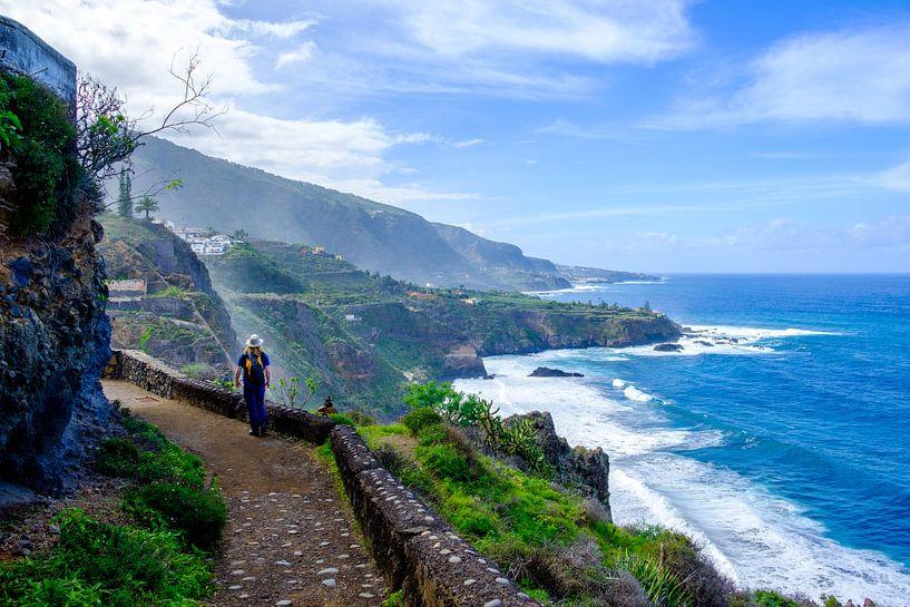 Wandelaar loopt over een pad met uitzicht over zee en kliffen. van Lidewij Olive
