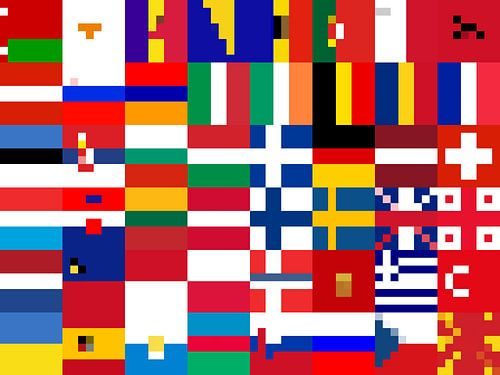 Vlaggen van Europa 3: vereenvoudigd van
