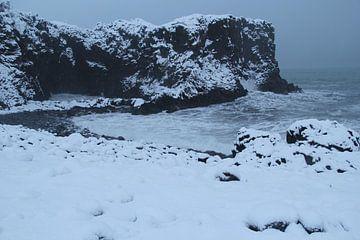 Ruige IJslandse kust in de winter van Marcel Alsemgeest
