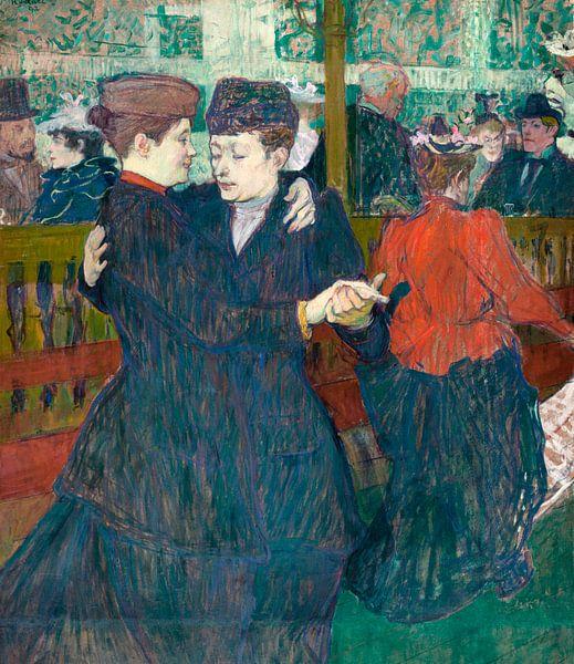 Zwei Frauen tanzen Walzer in der Moulin-Rouge, Henri de Toulouse-Lautrec - 1892 von Het Archief