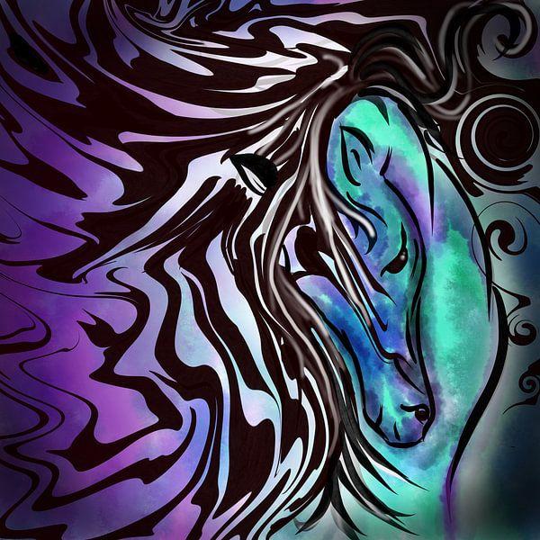 Abstrakte Kunst - Wildes Pferd im Sturm von Patricia Piotrak