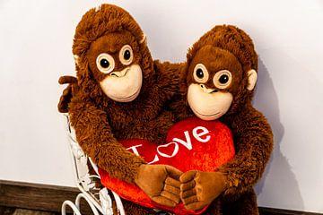 Twee knuffelapen zitten arm in arm op een karretje en houden hun handen vast... van Tom Voelz