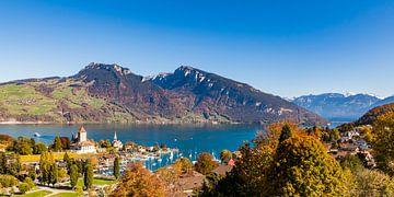 Spiez aan het Thunmeer in het Berner Oberland in Zwitserland van Werner Dieterich